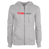 ENZA Ladies Grey Fleece Full Zip Hoodie-Officlal Logo