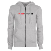 ENZA Ladies Grey Fleece Full Zip Hoodie-York College with CUNY Square