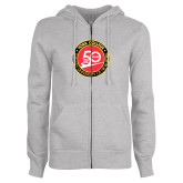 ENZA Ladies Grey Fleece Full Zip Hoodie-York College 50th Anniversary