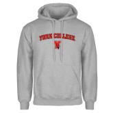 Grey Fleece Hoodie-York College Arched with Cardinal