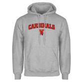 Grey Fleece Hoodie-Cardinals Arched with Cardinal