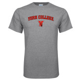 Grey T Shirt-York College Arched with Cardinal