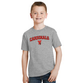 Youth Grey T-Shirt-Cardinals Arched with Cardinal