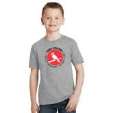 Youth Grey T-Shirt-Circle Text Perched Cardinal