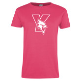 Ladies Fuchsia T Shirt-Cardinal
