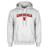 White Fleece Hoodie-Cardinals Arched with Cardinal