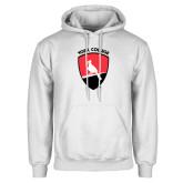 White Fleece Hoodie-York College and Shield