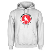 White Fleece Hoodie-Circle Text Perched Cardinal