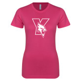 Next Level Ladies SoftStyle Junior Fitted Fuchsia Tee-Cardinal