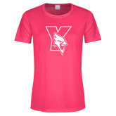 Ladies Performance Hot Pink Tee-Cardinal