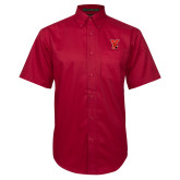 Red Twill Button Down Short Sleeve-Cardinal