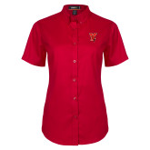 Ladies Red Twill Button Up Short Sleeve-Cardinal