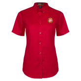 Ladies Red Twill Button Up Short Sleeve-York College 50th Anniversary