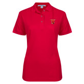 Ladies Easycare Red Pique Polo-Cardinal