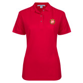 Ladies Easycare Red Pique Polo-York College 50th Anniversary
