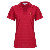 Ladies Red Horizontal Textured Polo-Cardinal