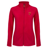 Ladies Fleece Full Zip Red Jacket-Cardinal