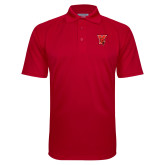 Red Textured Saddle Shoulder Polo-Cardinal