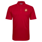 Red Textured Saddle Shoulder Polo-York College 50th Anniversary