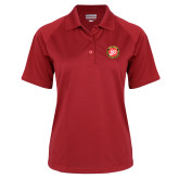 Ladies Red Textured Saddle Shoulder Polo-York College 50th Anniversary