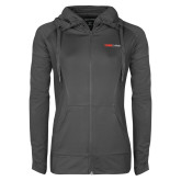 Ladies Sport Wick Stretch Full Zip Charcoal Jacket-Officlal Logo