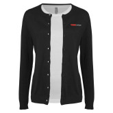 Ladies Black Cardigan-Officlal Logo