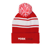 Red/White Two Tone Knit Pom Beanie w/Cuff-Official Logo