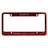 Mom Metal Red License Plate Frame-Mom