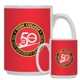 Full Color White Mug 15oz-York College 50th Anniversary