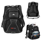 High Sierra Swerve Black Compu Backpack-Officlal Logo
