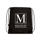 College Black Drawstring Backpack-Lettered Macaulay Honors
