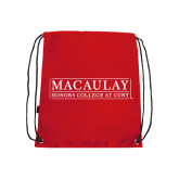 College Red Drawstring Backpack-Official Logo