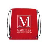 College Red Drawstring Backpack-Lettered Macaulay Honors