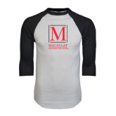 White/Black Raglan Baseball T-Shirt-Lettered Macaulay Honors