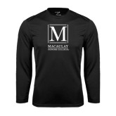 College Performance Black Longsleeve Shirt-Lettered Macaulay Honors