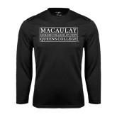 College Performance Black Longsleeve Shirt-Queens College