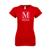 Next Level Ladies SoftStyle Junior Fitted Red Tee-Lettered Macaulay Honors