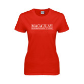 College Ladies Red T Shirt-Official Logo