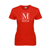 College Ladies Red T Shirt-Lettered Macaulay Honors