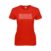 College Ladies Red T Shirt-Lehman College
