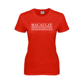 College Ladies Red T Shirt-College of Staten Island