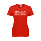 College Ladies Red T Shirt-Baruch College
