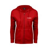 College ENZA Ladies Red Fleece Full Zip Hoodie-Official Logo