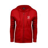 College ENZA Ladies Red Fleece Full Zip Hoodie-Lettered Macaulay Honors