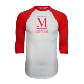 White/Red Raglan Baseball T-Shirt-Lettered Macaulay Honors
