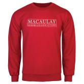 College Red Fleece Crew-Official Logo