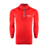 College Under Armour Red Tech 1/4 Zip Performance Shirt-Official Logo