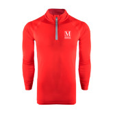 College Under Armour Red Tech 1/4 Zip Performance Shirt-Lettered Macaulay Honors
