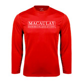 College Performance Red Longsleeve Shirt-Official Logo