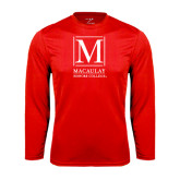 College Performance Red Longsleeve Shirt-Lettered Macaulay Honors